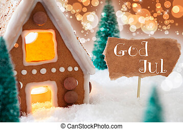 Gingerbread House, Bronze Background, God Jul Means Merry...