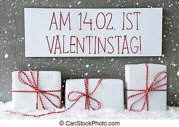 White Gift With Snowflakes, Valentinstag Means Valentines...