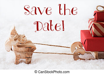 Reindeer With Sled On Snow, English Text Save The Date -...