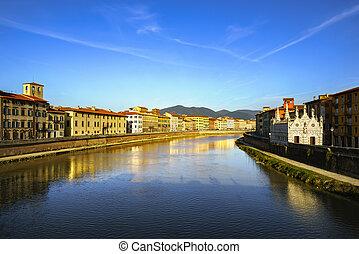 Pisa, Arno river sunset. Lungarno view and Santa Maria della...