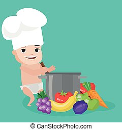 Baby in chef hat cooking healthy meal.