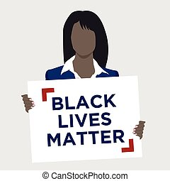Black Lives Matter Illustration with African American Female...