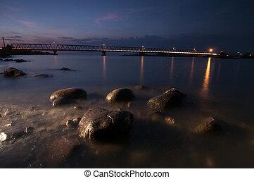 Jeneberang river with Barombong Bridge at Makassar Indonesia