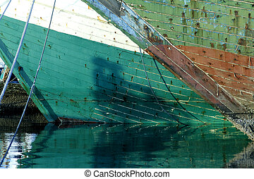 wooden ship - detailed of wooden ship at harbour