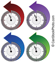 Backwards Clock Arrow Set - An image of a backward clock...
