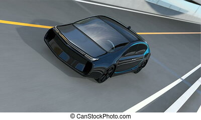 Black electric car driving on loop bridge. Concept for...