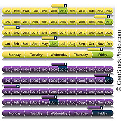 Purple Timeline Chart Set - An image of a timeline chart...
