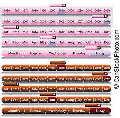 Pink Timeline Chart Set - An image of a timeline chart set.