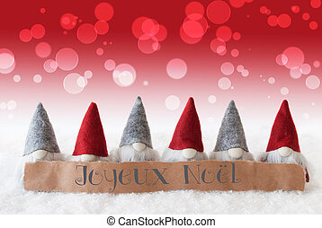 Gnomes, Red Background, Bokeh, Joyeux Noel Means Merry...