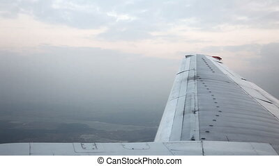 Reduce aircraft landing - Aerial view from jet airplane