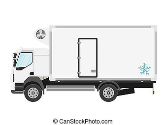 Refrigerated truck isolated on white background - Commercial...