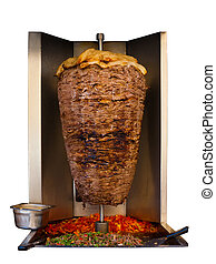 Middle Eastern Grilled Lamb Kebab Meat Isolated - Grilled...