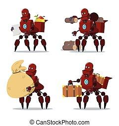 carrier robot cartoon set