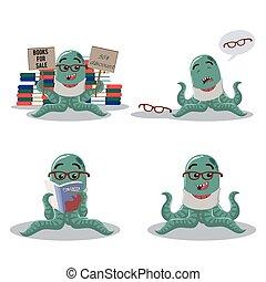 octopus monster cartoon set