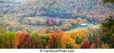 Scenic rural Vermont landscape in foliage season