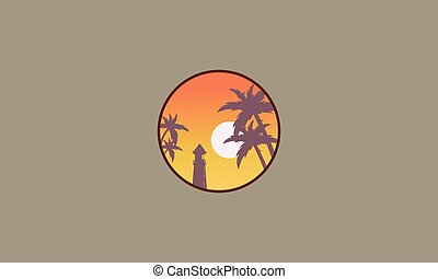 Lighthouse scnery at sunset ojn seaside vector illustration