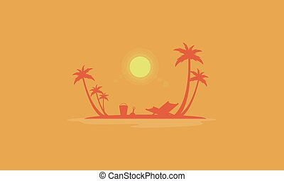 Beach scenery at sunrise silhouettes vector collection