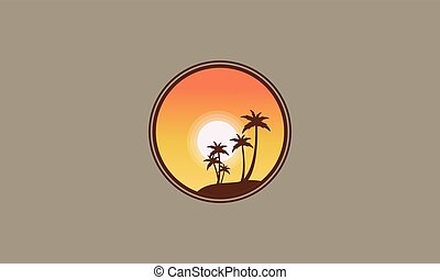 Silhouette of clump palm at sunrise vector art
