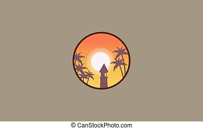 Lighthouse on seaside scenery silhouettes