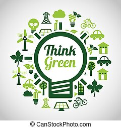 think green ecology icons