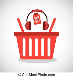 merry christmas sale with shopping basket
