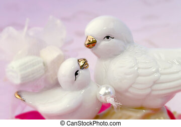 gentle love background blurred figures of doves with selective focus Mother's Day