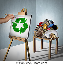 Recycling Concept - Recycling concept as a pile of...