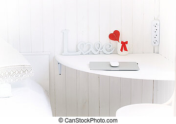 white room in the home workplace