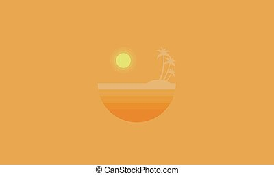 On orange backgrounds seaside scenery silhouettes vector...