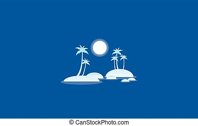 Silhouette of islands beautiful scenery vector illustration