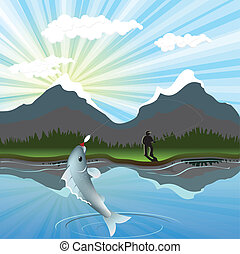 fishing - illustration, fisherman has went fishing in bugle...