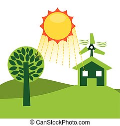 ecological alternative energy green vector illustration...