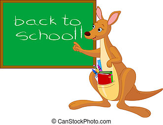 Cartoon Kangaroo near chalkboard - Pointing cartoon kangaroo...