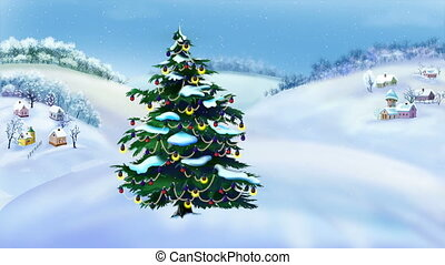 Christmas Tree in a Wonderful Winter Day. Handmade animation...