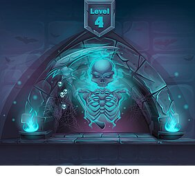 Magic skeleton with scythe in portal - Arch Magic in next...