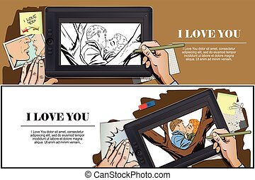 Kiss of a loving couple. - Stock illustration. People in...