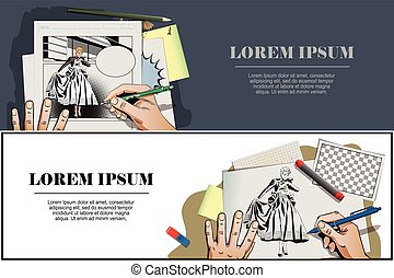 Presentation template. Girl looking wedding gown. - Stock...