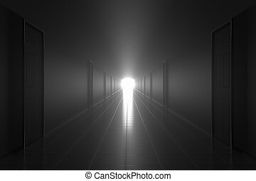 Scary dark misty corridor. Afterlife concept.