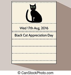 Black Cat Appreciation Day - Stylized cartoon calendar...