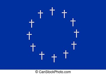 The circle of twelve crosses on blue background - The circle...