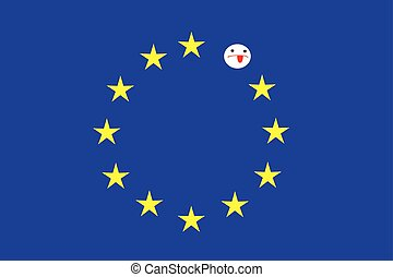 Stars and worry emoticon on blue flag - Blue rectangle,...
