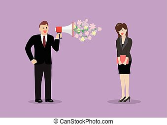 Businessman flirt with a woman at work. Vector illustration