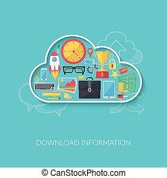 Cloud shape and content symbols. - Data storage concept....