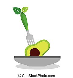 dish with vegetable menu vector illustration design