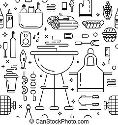 Barbeque party seamless pattern