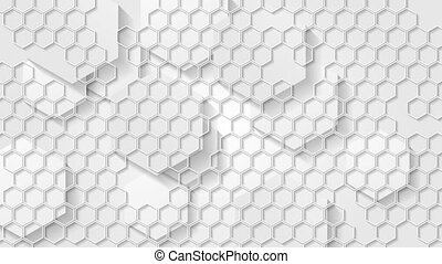 White grey geometric video animation with hexagons - White...