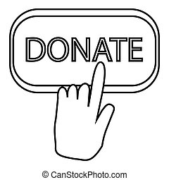 Hand presses button to donate icon, outline style - Hand...