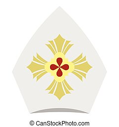 Catholic hat icon, flat style - Catholic hat icon. Flat...
