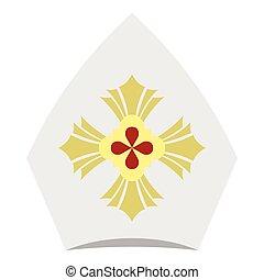 Catholic hat icon, flat style - Catholic hat icon. Flat...