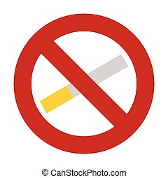 No smoking icon, flat style - No smoking icon. Flat...